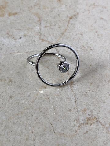 Кольцо Энштиана с цирконом, серебряный цвет