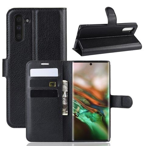 Черный чехол книжка на Samsung Galaxy Note 10, с отсеком для карт и подставкой от Caseport