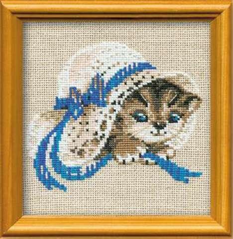 Набор для вышивания крестом «Котенок в шляпе» (748)