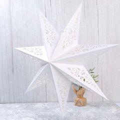 Звезда семиконечная бумажная 45 см , Вензель Белый, 1 шт.