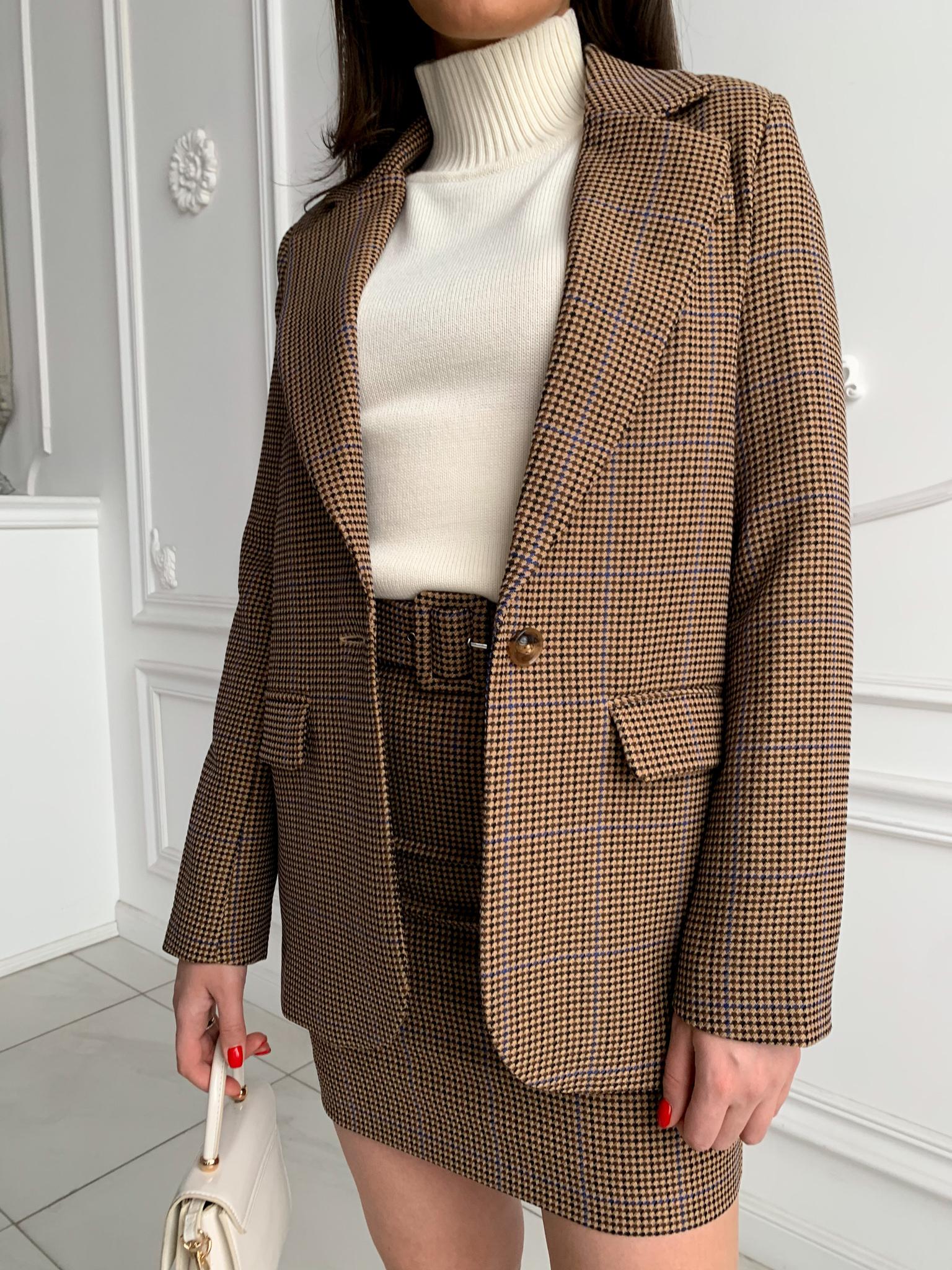 Пиджак прямой однобортный без шлицы в гусиную лапку (черно-коричневый)
