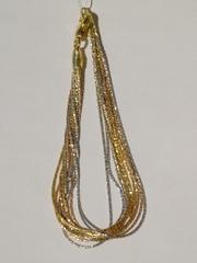 Браслет из серебра,10 нитей, трехцветный (серебряный браслет).