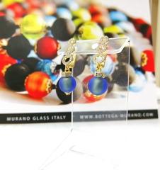 Серьги из муранского стекла со стразами синие Sandra Sapfir Gold Matt