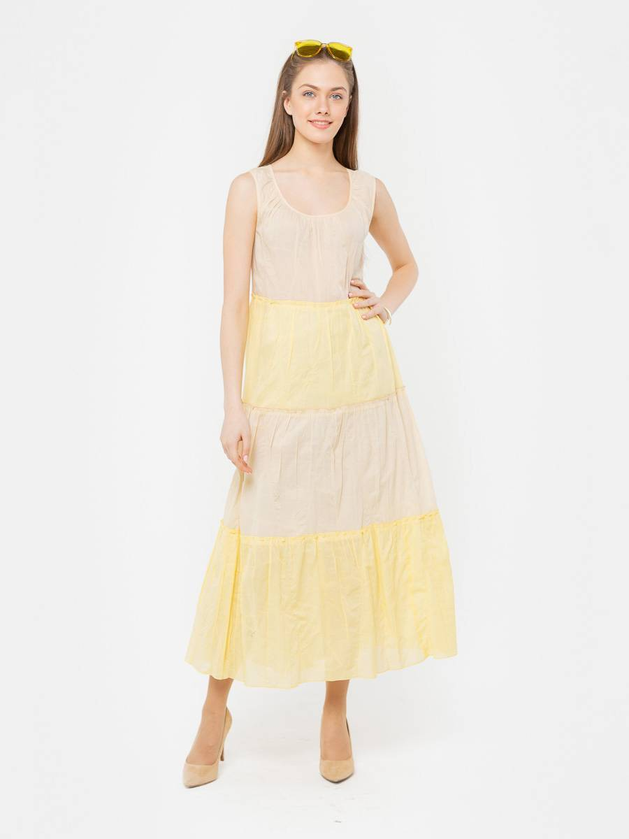 Платье З280-329 - Летнее платье длинны макси из тонкого, комбинированного по цвету хлопка. Нежное, стильное и комфортное, оно поможет создать разные образы для летнего отдыха.