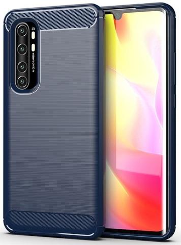 Чехол синего цвета для Xiaomi Mi Note 10 Lite, серии Carbon от Caseport