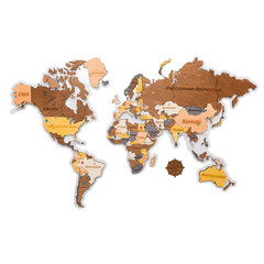 Карта Мира из дерева Color фото 1