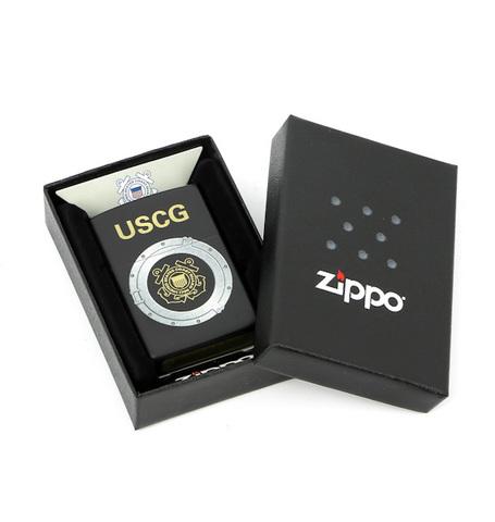 Зажигалка Zippo USCG, латунь с покрытием Black Matte, черный, матовая, 36х12x56 мм