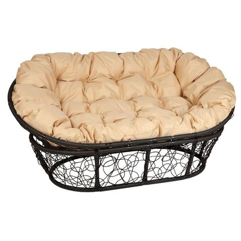 Кресло Mamasan, цвет плетения черный, цвет подушки бежевый
