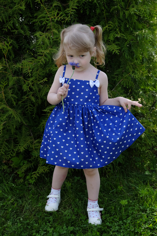 Сарафан синий с сердечками