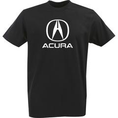 Футболка с однотонным принтом Акура (Acura) черная 002