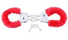 Металлические наручники с мехом Beginner's Furry Cuffs красные