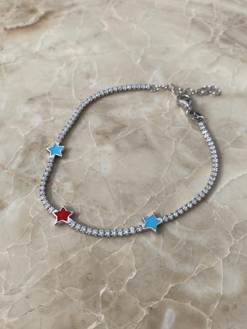 Браслет Марга из серебра с красной и голубыми звездами из эмали