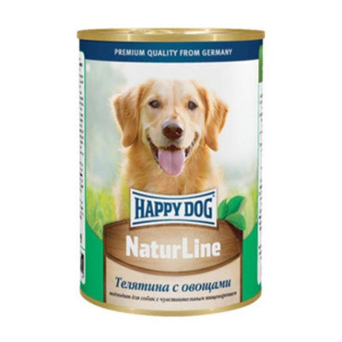 HAPPY DOG Консервы для собак с телятиной и овощами 8000 г. (400г.*20)
