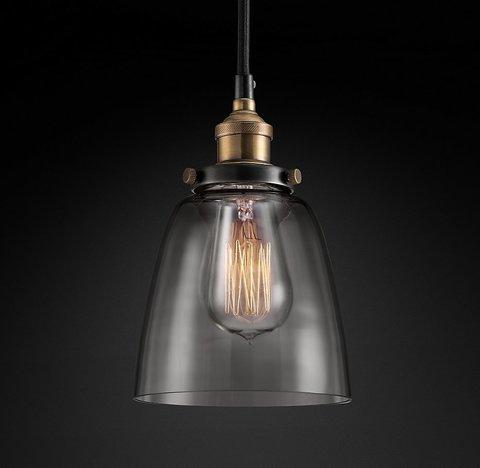 Подвесной светильник копия 20th C. Factory Filament Smoke Glass Cloche Pendant by Restoration Hardware