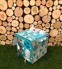 Бизикуб стандарт 30х30 см комплектации Бирюзово-Серый для мальчика