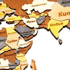 Карта Мира из дерева Color фото 3