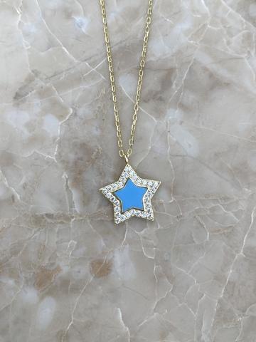 Колье Стелла из серебра, голубая эмаль