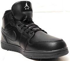 Зимние кеды кроссовки кожаные мужские Nike Air Jordan 1 Retro High Winter BV3802-945 All Black