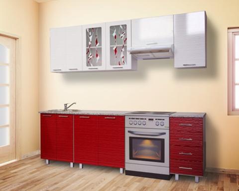 Кухня МАРТА 2,4 страйп красный