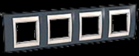 Рамка на 4 поста. Цвет Серо-зеленый/бежевый. Schneider electric Unica Хамелеон. MGU6.008.577