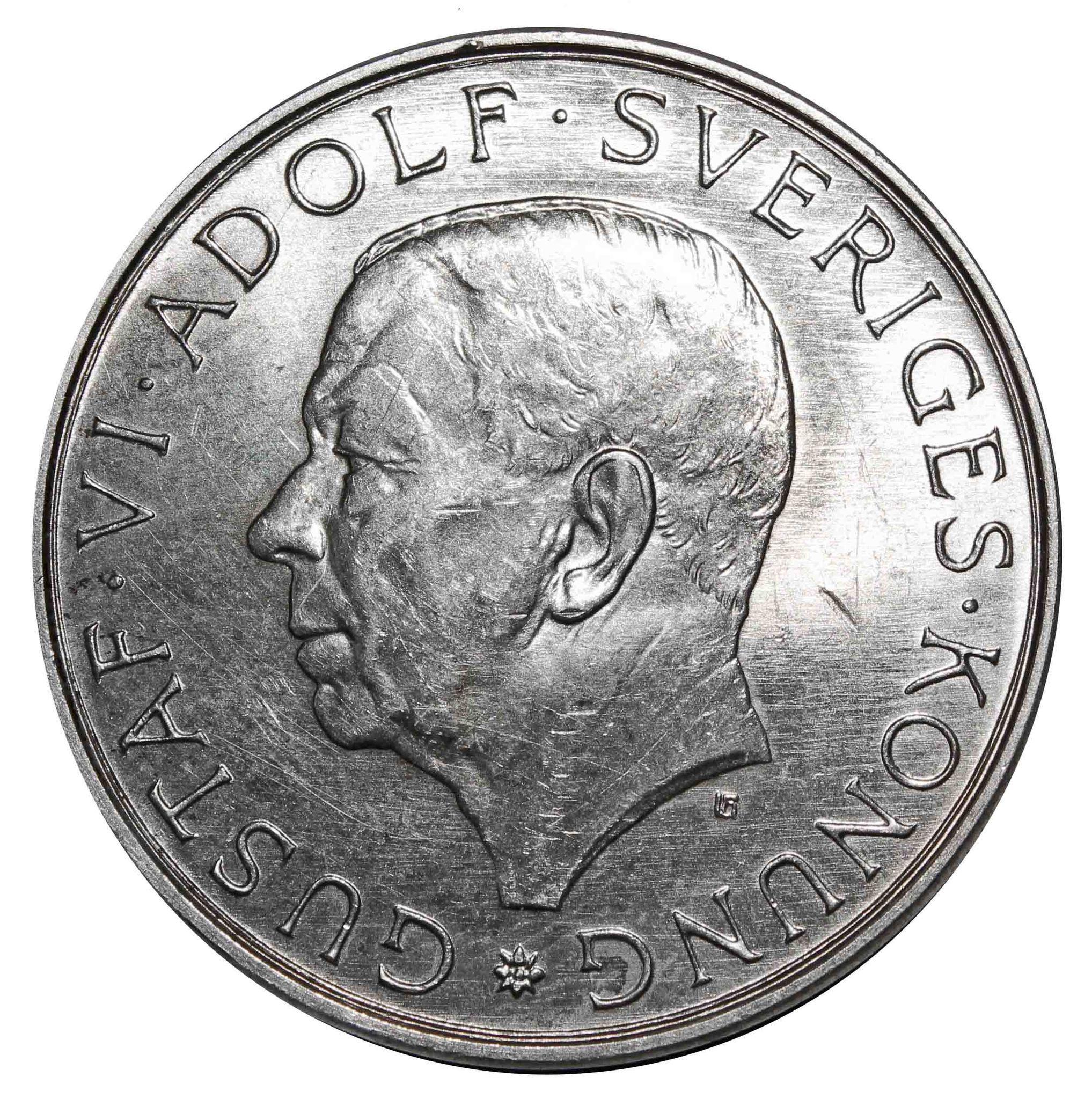 10 крон. 90 лет со дня рождения короля Густава VI Адольфа. Швеция. 1972 год. Серебро. AU