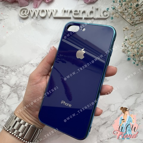 Чехол iPhone 7/8 Plus Glass Case Logo /blue/