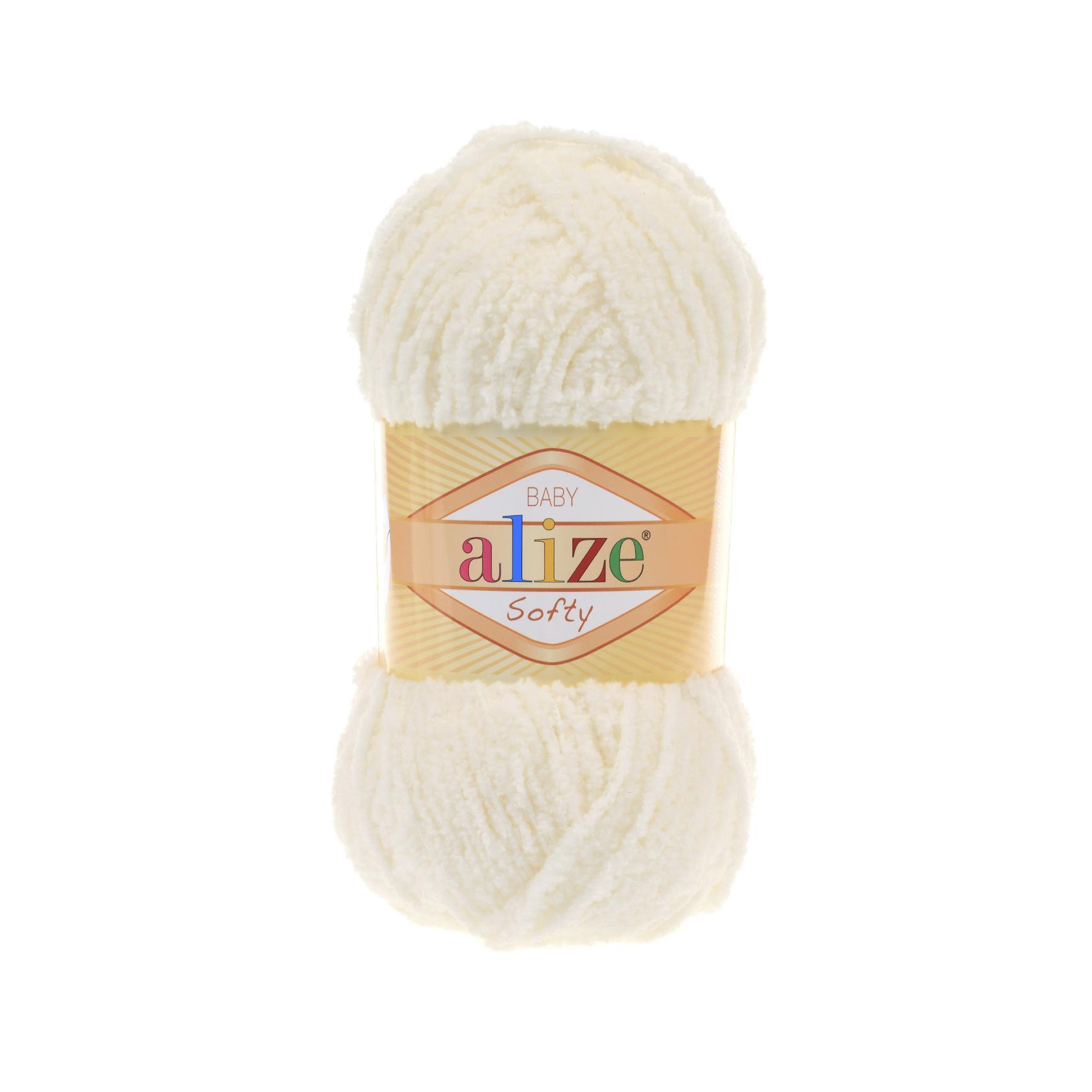 Пряжа Alize Softy светло-молочный 62