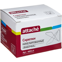 Скрепки Attache металлические никелированные бабочка 50 мм (12 штук в упаковке)