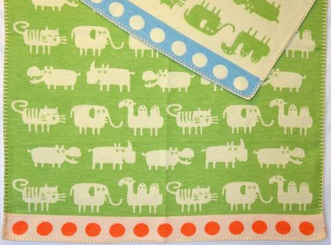 Одеяло, KLIPPAN, Африка, Байковое, Лайм, 70x90 см