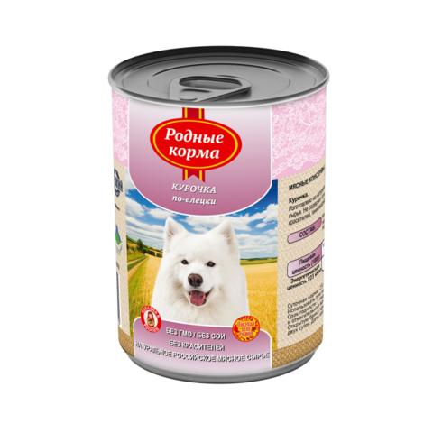 Родные Корма консервы для собак курочка по-елецки 410г