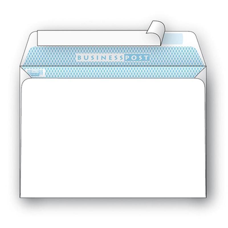Конверт BusinessPost C4 100 г/кв.м белый стрип с внутренней запечаткой (25 штук в упаковке)