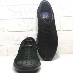 Кожаные мокасиные туфли с перфорацией мужские кэжуал стиль Luciano Bellini 91754-S-315 All Black.