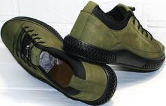 Мужские осенние кеды туфли из нубука Luciano Bellini C2801 Nb Khaki.