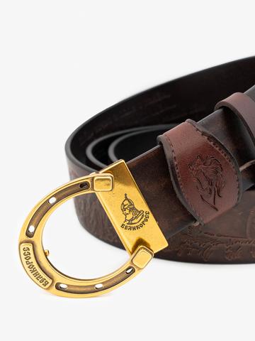 Ремень «В поле с конём» коричневого цвета