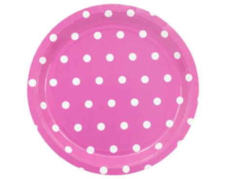 1502-3921 Тарелка Горошек ярко-розовая 23см 6шт/G
