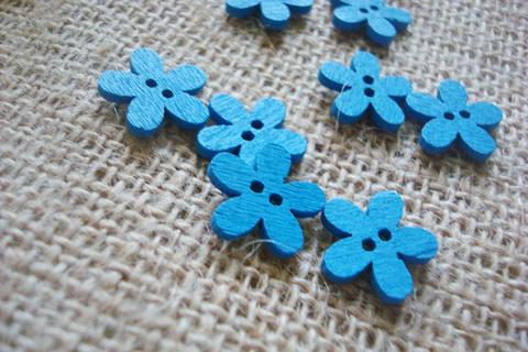 Деревянные пуговки-цветочки, синий