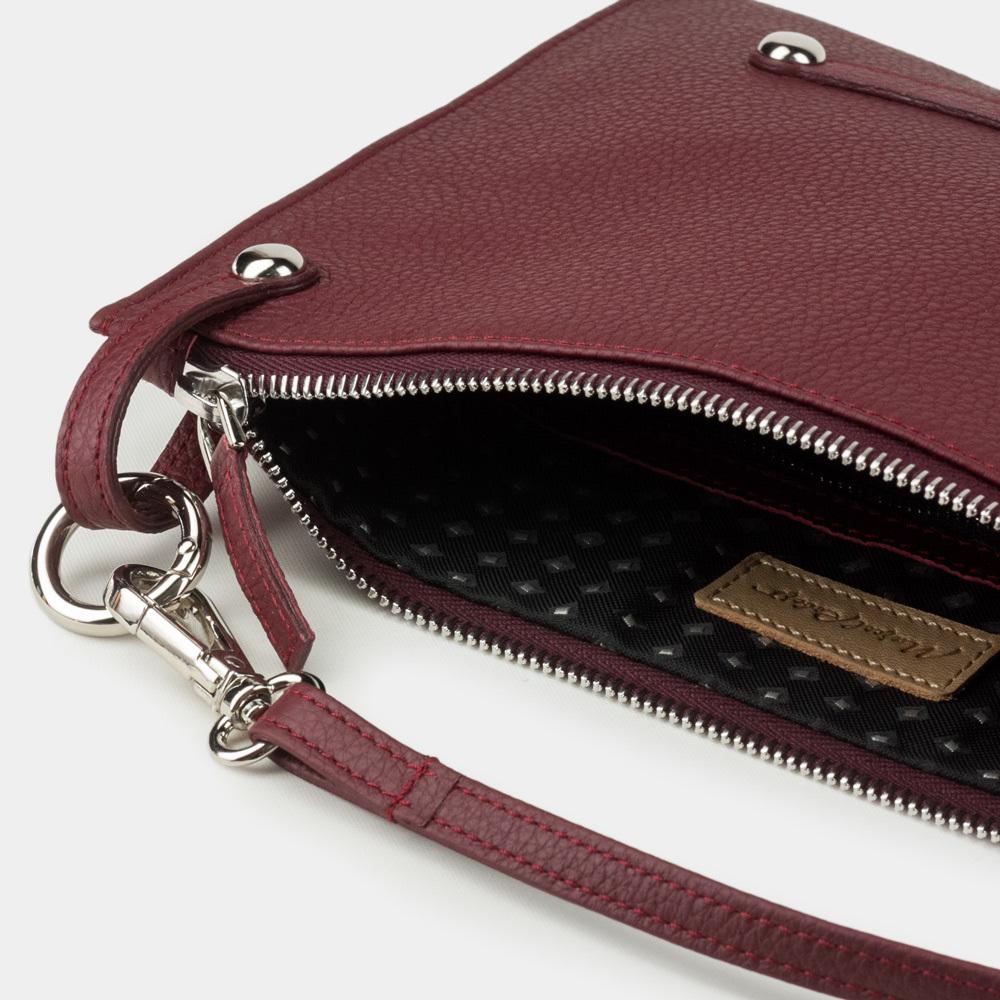 Женская сумка Julie Easy из натуральной кожи теленка, бордового цвета