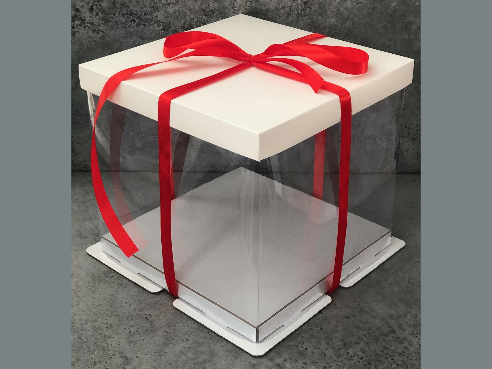 Коробка для торта прозрачная 26х26х28 см, БЕЛАЯ