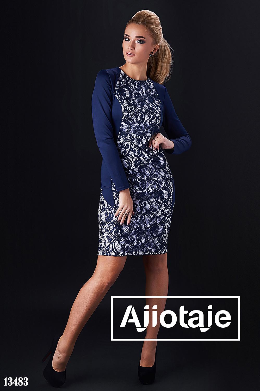 Платье темно-синего цвета с гипюром