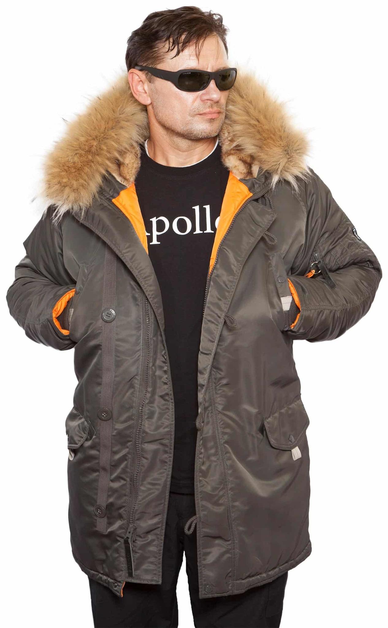 Куртка Аляска удлиненная Husky Long 2020 (т.серая - beluga/orange)