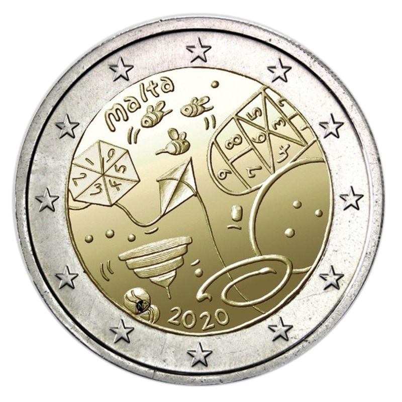 2 евро Детские игры. Солидарность. UNC Мальта. 2020 год