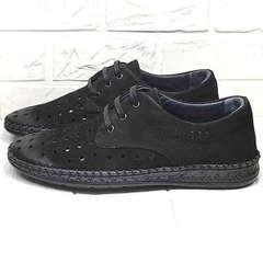 Летние мокасины туфли дерби мужские кэжуал стиль Luciano Bellini 91754-S-315 All Black.