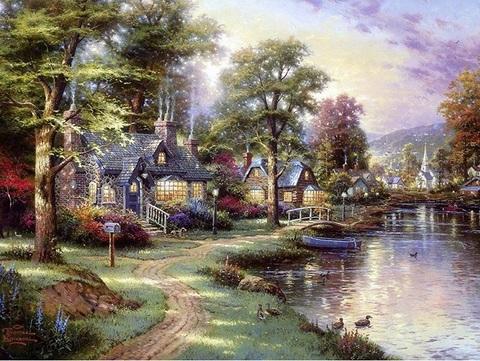Алмазная Мозаика 40x50 Маленький городок у речки