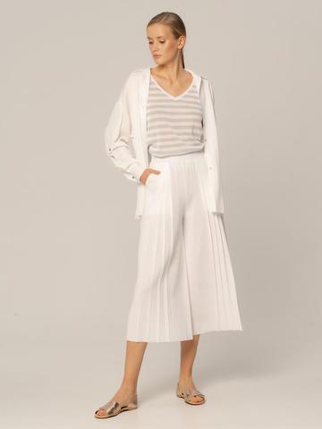 Женские брюки белого цвета из вискозы - фото 2