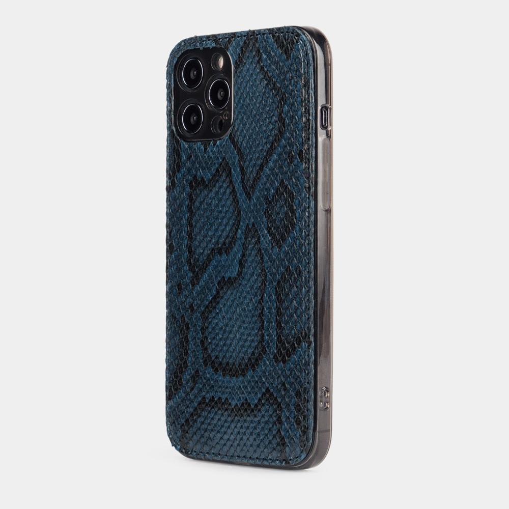 Чехол-накладка для iPhone 12 Pro Max из натуральной кожи питона, синего цвета