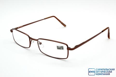 Очки готовые для зрения лектор в широком металлическом футляре ELIFE 7707 BROWN (