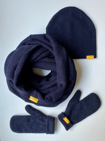 Комплект с варежками тёмно-синий из турецкой шерсти