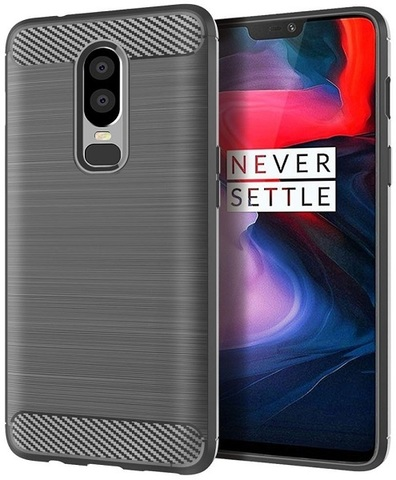 Чехол OnePlus 6 цвет Gray (серый), серия Carbon, Caseport