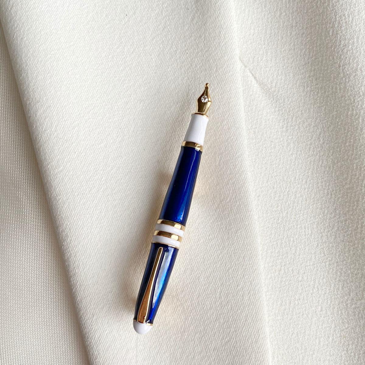 Брошь Перьевая Ручка синий