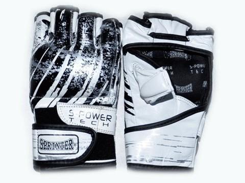 Перчатки для рукопашного боя. Материал кожа.  Размер М. Цвет чёрно-белые.